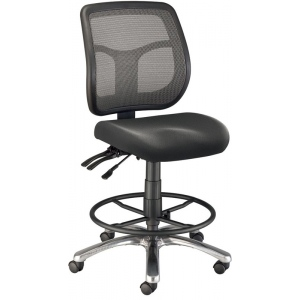 "Alvin® Argentum Mesh Back Chair Drafting Height; Arm Rest Included: No; Color: Black/Gray; Foot Ring Included: Yes; Height Range: 24"" - 29""; Seat Material: Fabric; (model CH728-45DH), price per each"