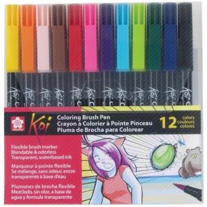 Koi™ Coloring Brush 12-Pen Set; Color: Multi; Ink Type: Water-Based; Tip Type: Bold Nib, Fine Nib, Medium Nib; Type: Brush Pen; (model XBR-12SA), price per set
