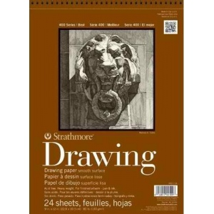 "Strathmore 400 Series Drawing Paper: Wire Bound, Smooth Surface, 11"" x  14"", 80 lb., Pad of 24 Sheets"