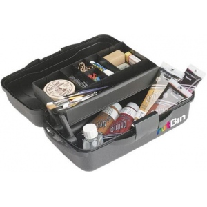 "Artbin® Essentials One-Tray Box; Color: Black/Gray; Material: Plastic; Size: 8 1/4""l x 15""w x  6 1/2""h; (model 8512MB), price per each"