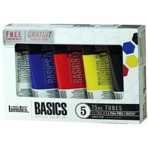 Liquitex® Basics Acrylic 5-Color Set; Color: Multi; Format: Tube; Size: 75 ml; Type: Acrylic; (model 101082), price per set