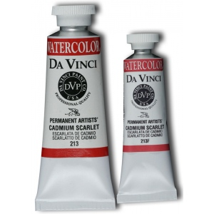 Da Vinci Artists' Watercolor Paint 15ml Cadmium Scarlet: Red/Pink, Tube, 15 ml, Watercolor, (model DAV213F), price per tube