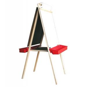 Beka Deluxe Easel: Chalkboard & Magnet Board, Red Plastic Tray