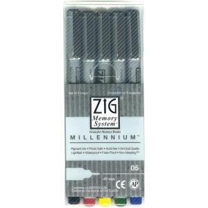Zig®  Memory System® Millennium™ 5-Piece Pen Set ; Color: Black/Gray; Ink Type: Pigment; Tip Type: Fine Nib; (model MS05/5V), price per set