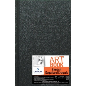 "Canson® ArtBook™ Artist Series 5.5"" x 8.5"" Hardbound Sketchbook: Sewn Bound, White/Ivory, Book, Black/Gray, 108 Sheets, 5 1/2"" x 8 1/2"", Sketching, 65 lb, (model C100510350), price per each"