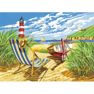 "Reeves™ Large Acrylic Painting By Numbers Set Seashore: 12"" x 15 1/2"", (model PL89), price per each"