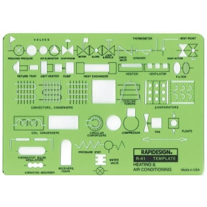 "Rapidesign® Heating & Air Conditioning Template; Size: 5"" x 7"" x .030""; Type: Architectural; (model 41R), price per each"