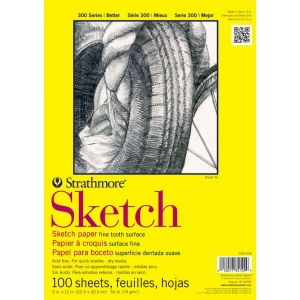 "Strathmore® 300 Series 11"" x 14"" Glue Bound Sketch Pad; Binding: Glue Bound; Color: White/Ivory; Format: Pad; Quantity: 100 Sheets; Size: 11"" x 14""; Weight: 50 lb; (model ST350-111), price per 100 Sheets pad"
