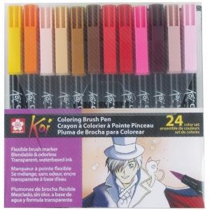 Koi™ Coloring Brush Pen 24-Color Set; Color: Multi; Ink Type: Water-Based; Tip Type: Bold Nib, Fine Nib, Medium Nib; Type: Brush Pen; (model XBR-24SA), price per set
