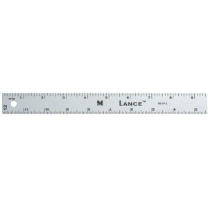 "Lance® 12"" Graduated Aluminum Ruler; Color: Metallic; Material: Aluminum; Size: 12""; Type: General Purpose; (model SE012), price per each"