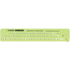 "Rapidesign® Microfont Guide Template; Scale: 1/8"", 3/16"", 5/32""; (model 964R), price per each"