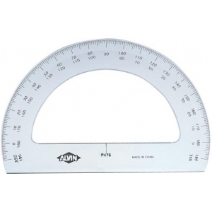 "Alvin® 6"" Semicircular Protractor: Clear, Plastic, 6"", Protractor, (model P476), price per each"