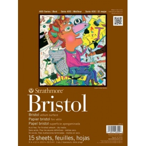 """Strathmore 400 Series Bristol Paper: Tape Bound, 2-Ply Vellum Surface, 11"""" x 14"""", Pad of 15 Sheets"""