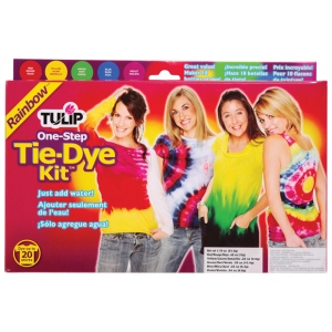 Tulip® One-Step Dye™ Rainbow Tie-Dye Kit for 20 Shirts; Capacity: 20 Shirts; Color: Multi; Format: Bottle; Ink Type: Tie Dye; (model D26504), price per kit