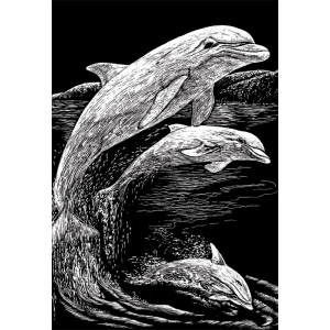 "Royal & Langnickel® Engraving Art Set Silver Foil Dolphins; Board Size: 8"" x 10""; Color: Metallic; (model SILF11), price per set"