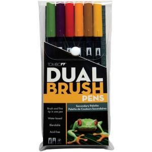 Tombow® Dual Brush® 6-Color Secondary Pen Set: Multi, Double-Ended, Dye-Based, Brush Nib, Fine Nib, Brush Pen, (model 56163), price per set