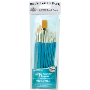 Royal & Langnickel® 9100 Series  Zip N' Close™ Teal Blue 10-Piece Brush Set 2; Length: Short Handle; Material: Taklon; Shape: Detail, Flat, Round, Shader; Type: Acrylic, Tempera, Watercolor; (model RSET-9155), price per set