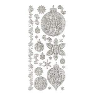 "Dazzles™ Stickers Silver Ornament; Color: Metallic; Size: 4"" x 9""; Type: Outline; (model HOTP1887), price per each"