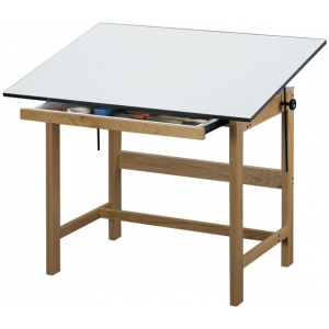 """Alvin® Titan Solid Oak Drafting Table Natural Finish 37 1/2"""" x 60"""" x 37""""; Angle Adjustment Range: 0 - 45; Base Color: Brown; Base Material: Oak; Height: 37""""; Top Color: White/Ivory; Top Material: Melamine; Top Size: 37 1/2"""" x 60""""; (model WTB60), price per each"""