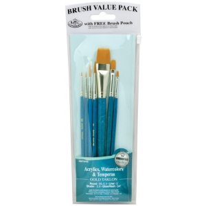 "Royal & Langnickel 9100 Series Zip N' Close Brush Set: Teal Blue, Gold Taklon, Glaze Wash 3/4"", Shader 2, 8, Liner 2, Round 5/0, 0, 5"