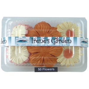 "Flower Pack Orange/Peach; Color: Orange; Material: Paper; Size: 2""+; Type: Dimensional; (model BHS10756), price per pack"
