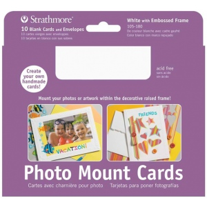 "Strathmore® Photo Mount Cards 10-Pack White: White/Ivory, Envelope Included, Card, 10 Cards, 5"" x 6 7/8"", 80 lb, (model ST105-180), price per 10 Cards"