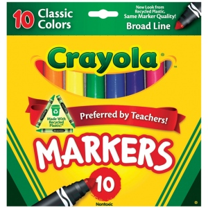 Crayola® Classic Marker Broad Line 10-Color Set; Color: Multi; (model 58-7722), price per set