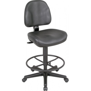 "Alvin® Black Leather Premo Drafting Height Ergonomic Chair; Arm Rest Included: No; Color: Black/Gray; Foot Ring Included: Yes; Height Range: 24"" - 29""; Seat Material: Leather; (model CH444-90DH), price per each"