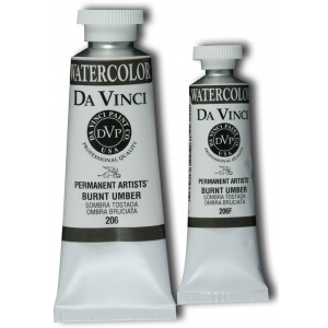 Da Vinci Artists' Watercolor Paint 15ml Burnt Umber; Color: Brown; Format: Tube; Size: 15 ml; Type: Watercolor; (model DAV206F), price per tube