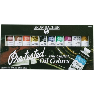 Grumbacher® Pre-Tested® Oil Paint 10-Color Set: Multi, Tube, 24 ml, Oil, (model GBP1030GSET), price per set