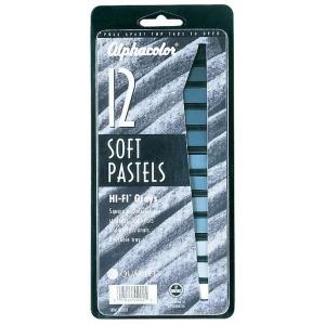 Alphacolor® Hi-Fi® Grays 12-Color Set; Color: Black/Gray, White/Ivory; Format: Stick; Type: Soft; (model QT145003), price per set