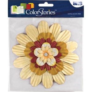 "Blue Hills Studio™ ColorStories™ Handmade Paper Stacked Flowers Yellow; Color: Yellow; Material: Paper; Size: 6""; Type: Dimensional; (model BHS10209), price per each"