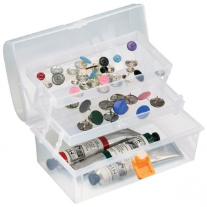 "Heritage Arts™ Small Art Tool Box; Color: Clear; Material: Plastic; Size: 5""d x 8 1/2""w x 4 1/4""h; (model HPB0906), price per each"