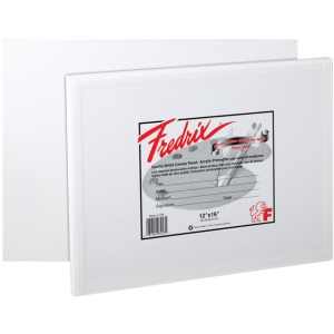 "Fredrix® Artist Series 16 x 16 Canvas Panel; Color: White/Ivory; Format: Panel/Board; Quantity: 12-Pack; Size: 16"" x 16""; Type: Stretched; (model T3044), price per 12-Pack"
