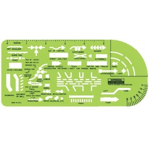 "Rapidesign® Traffic Accident Template; Size: 4 1/2"" x 10"" x .030""; Type: General Purpose; (model 131R), price per each"