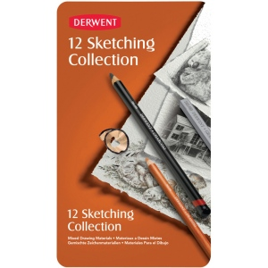 Derwent Sketching 12-Piece Tin Set: Multi, Block, Pencil, Drawing, Pastel, Watercolor, (model 34305), price per set