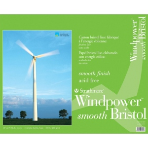 "Strathmore® Windpower™ 19 x 24 Smooth Tape Bound Bristol Pad; Binding: Tape Bound; Color: White/Ivory; Format: Pad; Quantity: 15 Sheets; Size: 19"" x 24""; Texture: Smooth; Weight: 100 lb; (model ST642-19), price per 15 Sheets pad"