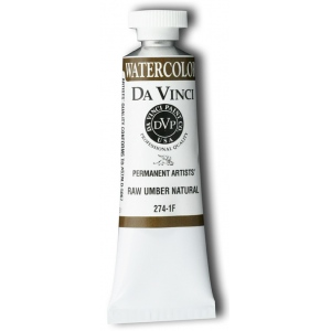 Da Vinci Artists' Watercolor Paint 37ml Raw Umber Naphthol; Color: Brown; Format: Tube; Size: 15 ml; Type: Watercolor; (model DAV274-1F), price per tube