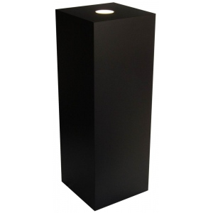 "Xylem Black Laminate Spot Lighted Pedestal: 11.5"" x 11.5"" Base, 24"" Height"