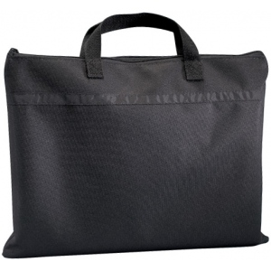 "Prestige™ Student™ Series Black Soft-Sided Portfolio 12"" x 15""; Color: Black/Gray; Gusset Size: 1/2""; Material: Nylon; Size: 12"" x 15""; (model N1215), price per each"
