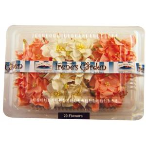 "Blue Hills Studio™ Irene's Garden™ Box O'Gardenias Dimensional Paper Flowers Peach/White: Orange, White/Ivory, Paper, 2"", 3"", Dimensional, (model BHS107516), price per box"