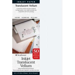 "Strathmore® 8.5"" x 11"" Inkjet Printable Translucent Vellum 50-Pack; Color: White/Ivory; Format: Sheet; Quantity: 50 Sheets; Size: 8 1/2"" x 11""; Type: Vellum; (model ST59-853), price per 50 Sheets"