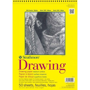"""Strathmore 300 Series Drawing Paper: 9"""" x 12"""", Wire Bound, Micro-Perforated, Pad of 25 Sheets"""