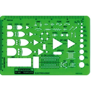 "Rapidesign® Electro/Logic Template; Size: 5 3/4"" x 3 3/4"" x .030""; Type: Electric/Electronic; (model 308R), price per each"