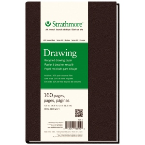 "Strathmore® 400 Series 5 1/2"" x 8 1/2"" Sewn Bound Recycled Drawing Art Journal: White/Ivory, Journal, 160 Sheets, 5 1/2"" x 8 1/2"", Drawing, (model ST465-5), price per each"
