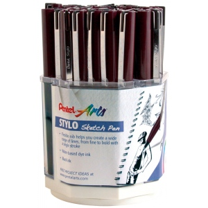 Pentel® Stylo Sketch Pen Display; Color: Black/Gray; Ink Type: Water-Based; Tip Type: Fine Nib; (model JM20AE-4D), price per each