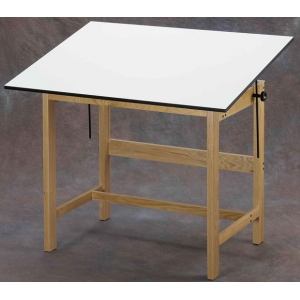"Alvin® Titan Solid Oak Drafting Table Natural Finish 31"" x 42"" x 37""; Angle Adjustment Range: 0 - 45; Base Color: Brown; Base Material: Oak; Height: 37""; Top Color: White/Ivory; Top Material: Melamine; Top Size: 31"" x 42""; (model WTB42), price per each"