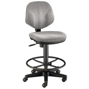 "Alvin® Gray Comfort Classic Deluxe Drafting Height Task Chair; Arm Rest Included: No; Color: Black/Gray; Foot Ring Included: Yes; Height Range: 24"" - 29"", 30"" & Up; Seat Material: Fabric; (model CH290-60DH), price per each"