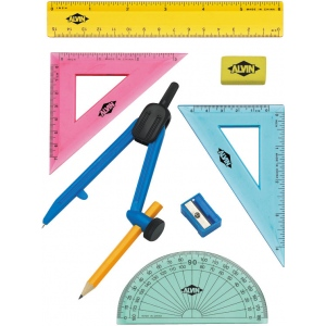 Alvin® 8-Piece Geometry Set with Compass; Type: Drawing and Geometry Set; (model FL04), price per set