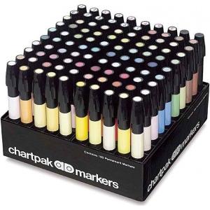 Chartpak® AD™ Marker 100-Color Set: Multi, Xylene-Based, Fine Nib, (model AD100), price per set
